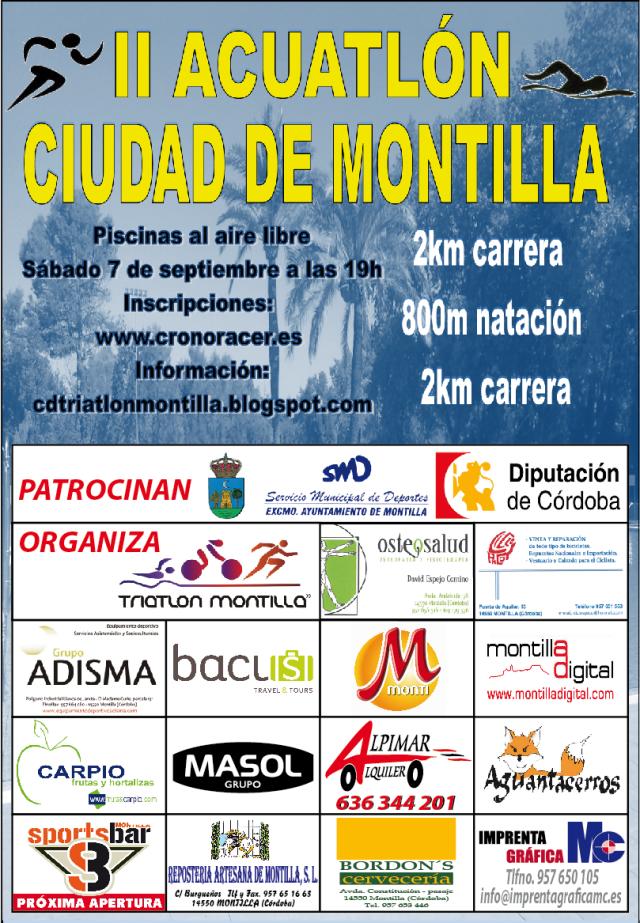 El cartel del Acuatlón con los patrocinadores al completo